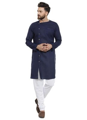 Blue Plain Linen Kurta Pajama