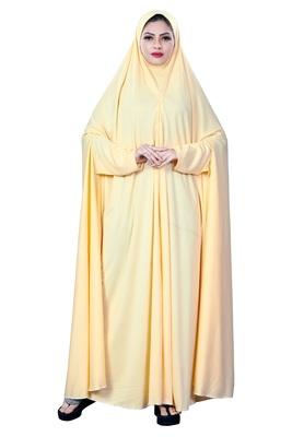 Justkartit Women'S Hosiery Plain Cream Color Casual Wear Arabic Style Chaderi Burkha