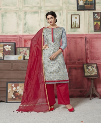 Grey weaved blended cotton salwar