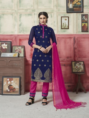 Navy-blue weaved blended cotton salwar