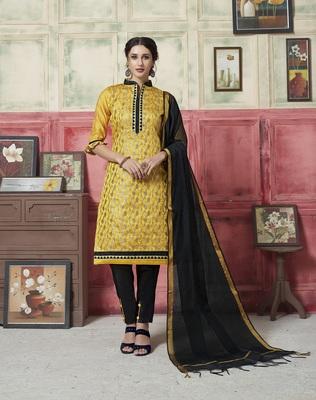 Yellow weaved blended cotton salwar