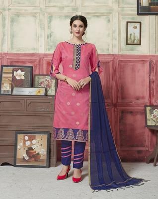 Pink Weaved Blended Cotton Salwar