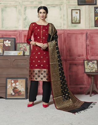 Red Weaved Blended Cotton Salwar