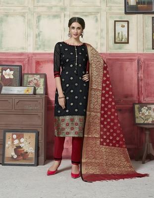 Black weaved blended cotton salwar