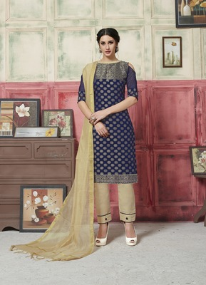 Blue weaved blended cotton salwar