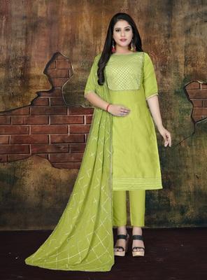 Light-green applique cotton salwar