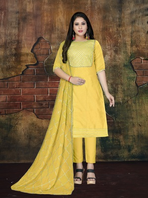 Yellow applique cotton salwar