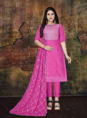 Pink applique cotton salwar