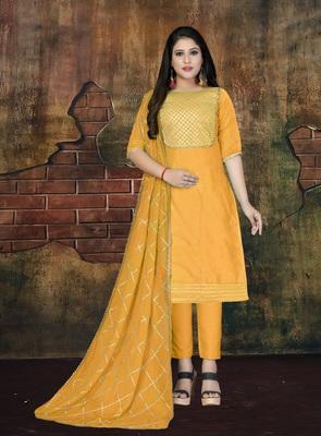 Mustard applique cotton salwar