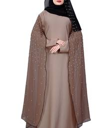 Justkartit Women's Occasion Wear Nida + Chiffon Abaya Burka with Pearl Work and Hijab Scarf