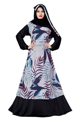 Justkartit Printed Georgette + Lycra Abaya Burqa With Hijab For Women