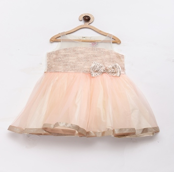 Peach plain polyester kids-frocks