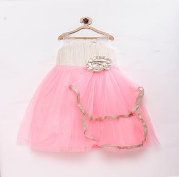 Pink plain polyester kids-frocks