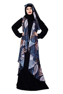Justkartit Jacket Style Printed Georgette + Nida Abaya Burqa With Hijab For Women