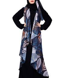 Justkartit Jacket Style Printed Georgette + Nida Abaya Burqa With Hijab For Women