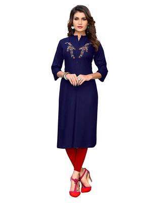 Blue hand woven rayon party-wear-kurtis