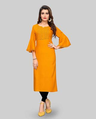 Yellow hand woven rayon party-wear-kurtis