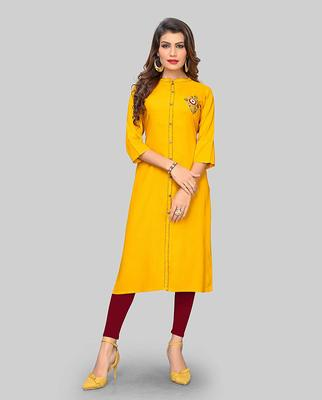 Yellow hand woven rayon party-wear-kurtis