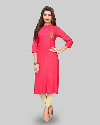 Pink hand woven rayon party-wear-kurtis