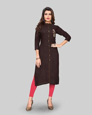 Brown hand woven rayon party-wear-kurtis