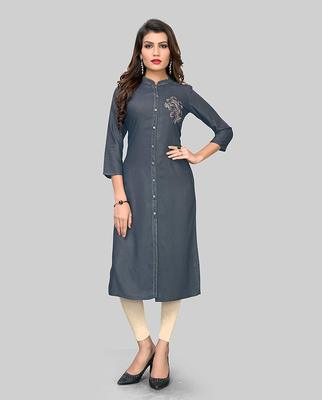 Grey hand woven rayon party-wear-kurtis