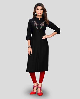 Black hand woven rayon party-wear-kurtis