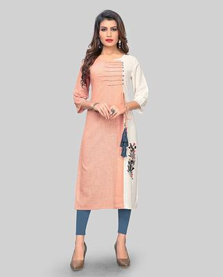 Peach embroidered cotton party-wear-kurtis