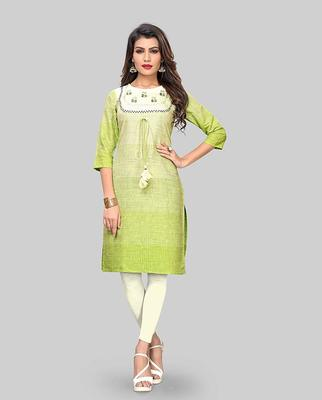 Light-green embroidered cotton party-wear-kurtis