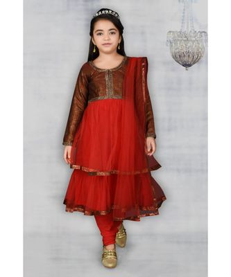 Maroon Embroidered Brocade Stitched Kids Salwar Suits