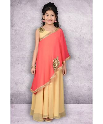 Beige Embroidered Faux Georgette Stitched Kids Frocks