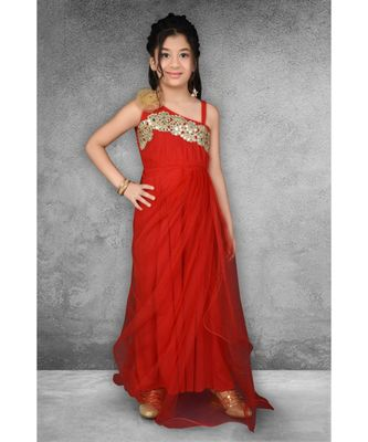 red embroidered net stitched kids frocks