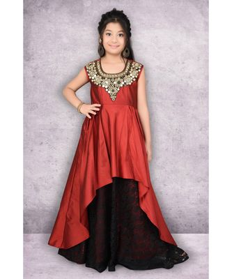 maroon embroidered taffeta stitched kids frocks