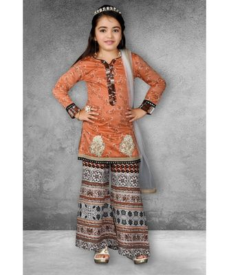 Pink Embroidered Chanderi Silk Stitched Kids Salwar Suits