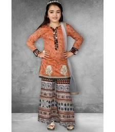 Pink Embroidered Chanderi Silk Stitched Kids Salwar Suits