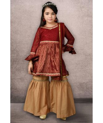 maroon woven net stitched kids salwar suits