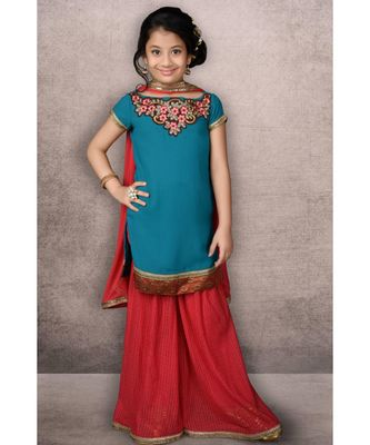 Blue Embroidered Faux Georgette Stitched Kids Salwar Suits