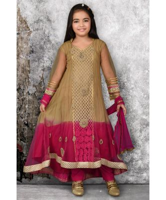 Gold Embroidered Net Stitched Kids Salwar Suits