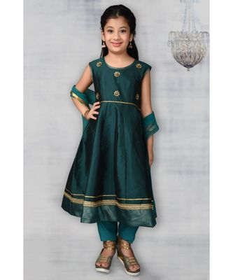 Green Embroidered Taffeta Stitched Kids Salwar Suits