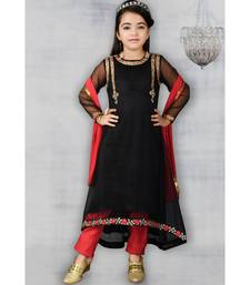black embroidered net stitched kids salwar suits