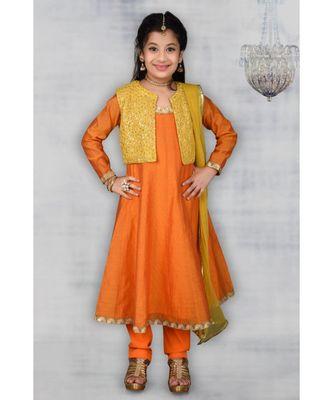 orange embroidered chanderi silk stitched kids salwar suits