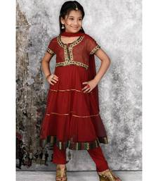 Maroon Embroidered Shimmer Stitched Kids Salwar Suits