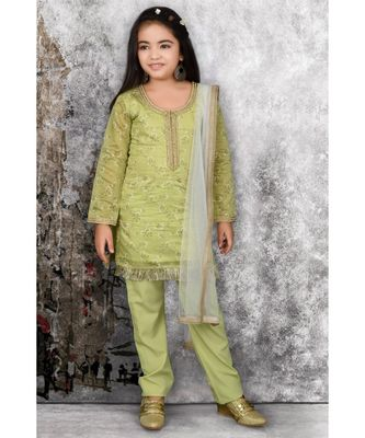 Green Embroidered Chanderi Silk Stitched Kids Salwar Suits