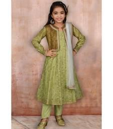 Green Embroidered Chanderi Silk Stitched Kids Salwar Suits