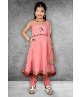 Pink Embroidered Net Stitched Kids Salwar Suits