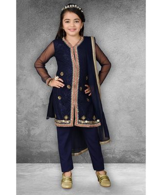 Blue Embroidered Net Stitched Kids Salwar Suits