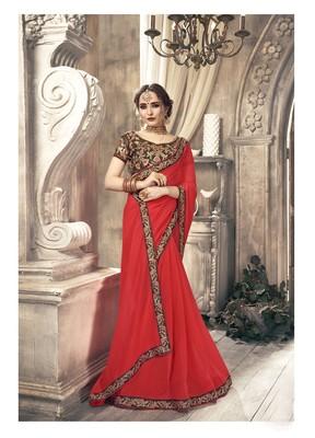 Redl plain georgette saree with blouse