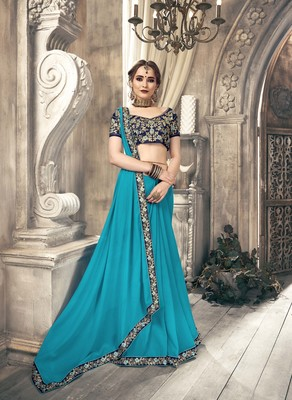 Sky blue plain georgette saree with blouse