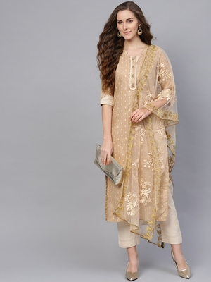 Beige Cotton Jacquard Self Design Unstitched Dress Material with Embroidered Dupatta