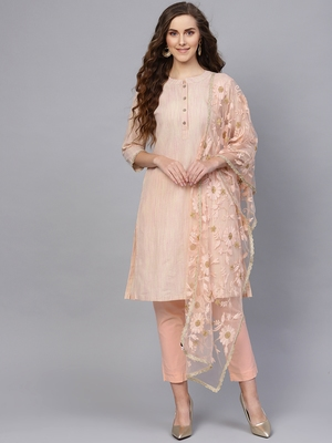 Peach Cotton Striped Self Design Unstitched Dress Material with Embroidered Dupatta