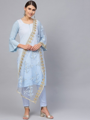 Blue Cotton Solid Unstitched Dress Material With Embroidered Dupatta